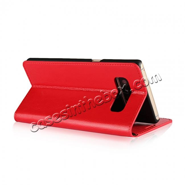 top quality Crazy Horse Genuine Leather Flip Wallet Stand Case for Samsung Galaxy Note 8 - Red