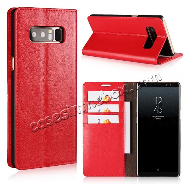 wholesale Crazy Horse Genuine Leather Flip Wallet Stand Case for Samsung Galaxy Note 8 - Red