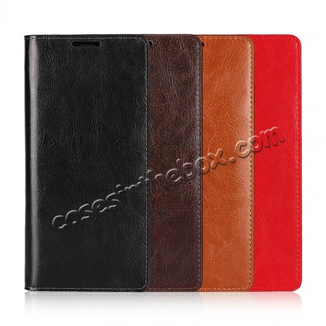 low price Crazy Horse Genuine Leather Flip Wallet Stand Case for Samsung Galaxy Note 8 - Red