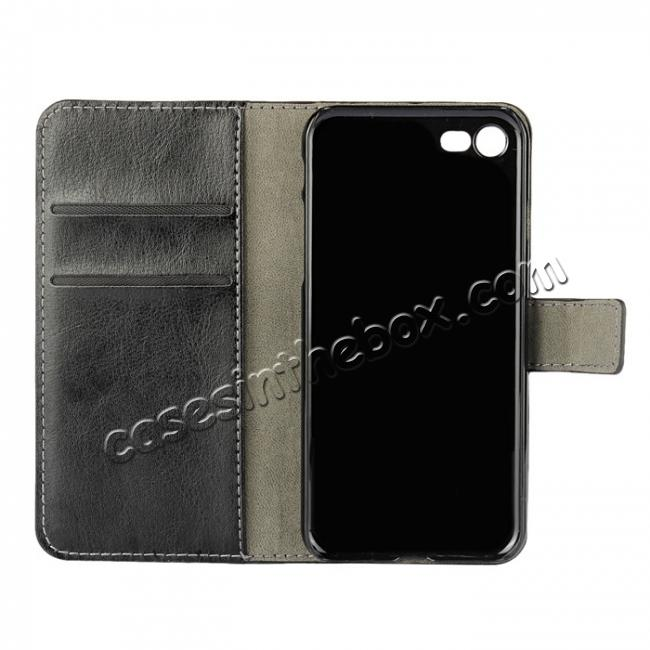 best price Crazy Horse Magnetic PU Leather Flip Case Inner TPU Cover for iPhone 8 Plus 5.5 inch - Black