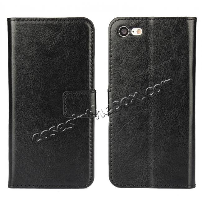wholesale Crazy Horse Magnetic PU Leather Flip Case Inner TPU Cover for iPhone 8 Plus 5.5 inch - Black