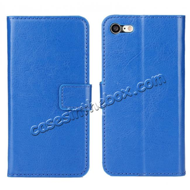 wholesale Crazy Horse Magnetic PU Leather Flip Case Inner TPU Cover for iPhone 8 Plus 5.5 inch - Blue