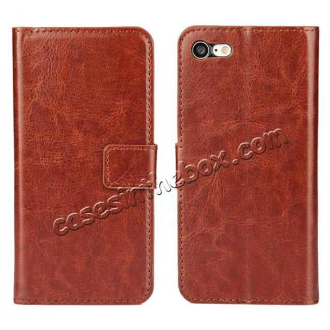 wholesale Crazy Horse Magnetic PU Leather Flip Case Inner TPU Cover for iPhone 8 Plus 5.5 inch - Brown