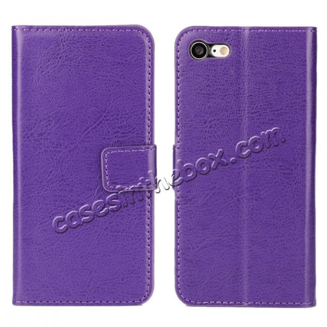 wholesale Crazy Horse Magnetic PU Leather Flip Case Inner TPU Cover for iPhone 8 Plus 5.5 inch - Purple