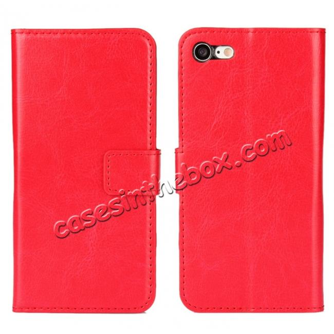wholesale Crazy Horse Magnetic PU Leather Flip Case Inner TPU Cover for iPhone 8 Plus 5.5 inch - Red