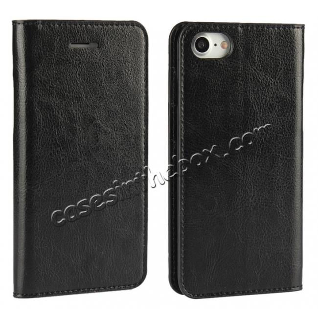 wholesale Crazy Horse Real Genuine Leather Wallet Stand Case for iPhone 8 4.7 inch - Black