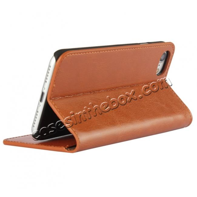 discount Crazy Horse Real Genuine Leather Wallet Stand Case for iPhone 8 4.7 inch - Brown
