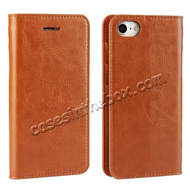 wholesale Crazy Horse Real Genuine Leather Wallet Stand Case for iPhone 8 4.7 inch - Brown
