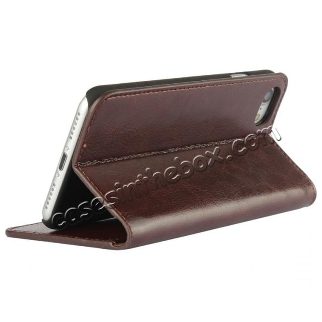 discount Crazy Horse Real Genuine Leather Wallet Stand Case for iPhone 8 4.7 inch - Coffee