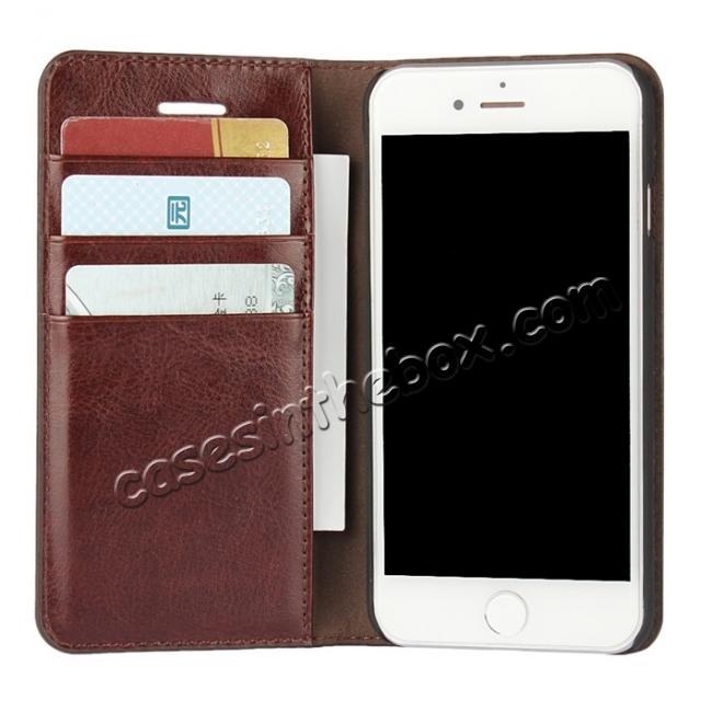 cheap Crazy Horse Real Genuine Leather Wallet Stand Case for iPhone 8 4.7 inch - Coffee