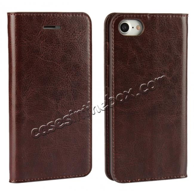 wholesale Crazy Horse Real Genuine Leather Wallet Stand Case for iPhone 8 4.7 inch - Coffee