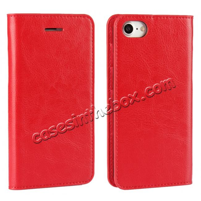 wholesale Crazy Horse Real Genuine Leather Wallet Stand Case for iPhone 8 4.7 inch - Red