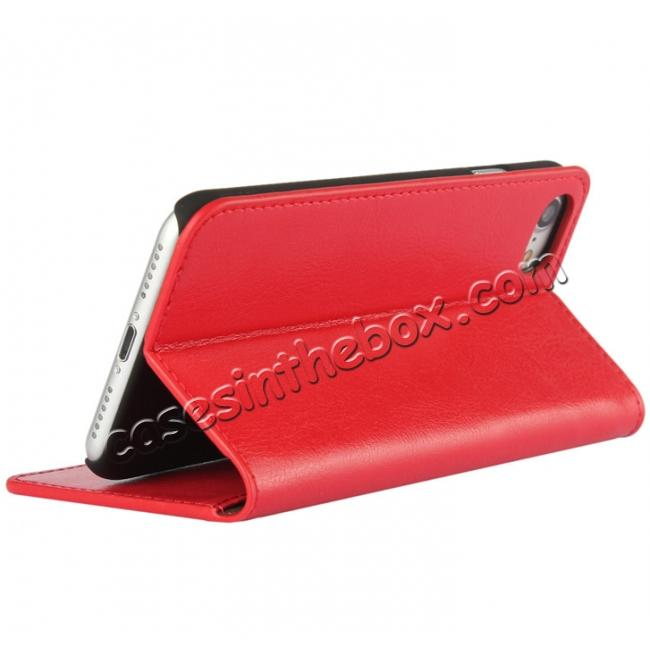 discount Crazy Horse Real Genuine Leather Wallet Stand Case for iPhone 8 4.7 inch - Red