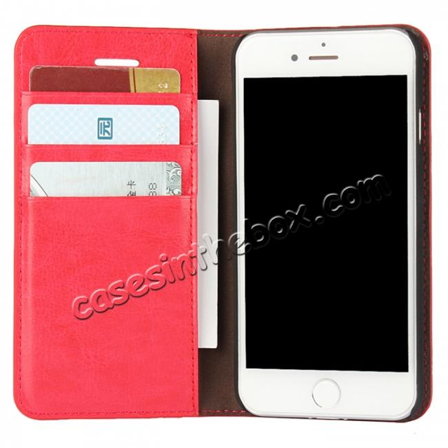 cheap Crazy Horse Real Genuine Leather Wallet Stand Case for iPhone 8 4.7 inch - Red
