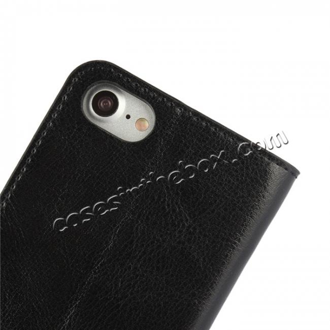 on sale Crazy Horse Texture Genuine Leather Flip Wallet Case for iPhone 8 Plus 5.5 inch - Black