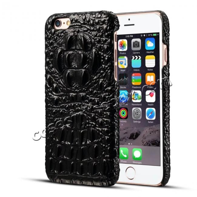 discount Crocodile Grain Genuine Cowhide Leather Back Cover Case for iPhone 8 4.7 inch - Black