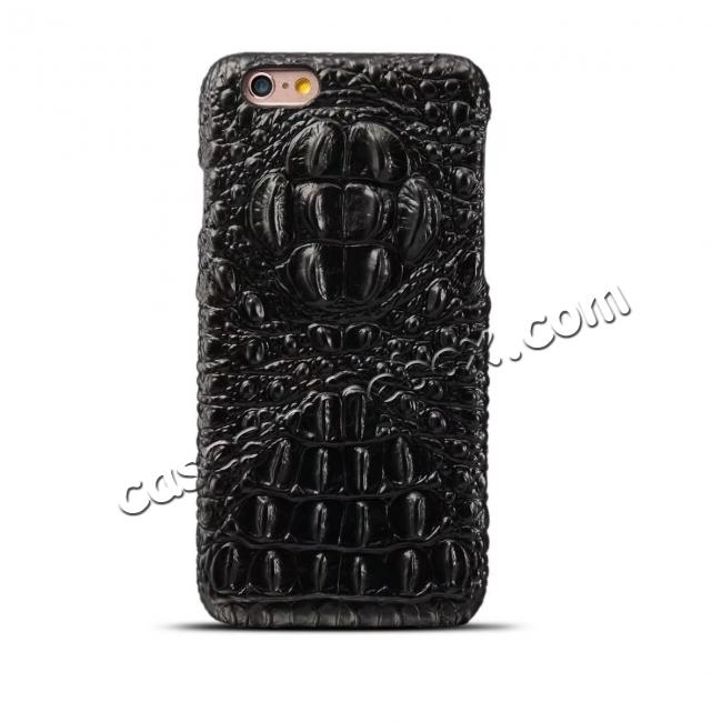 wholesale Crocodile Grain Genuine Cowhide Leather Back Cover Case for iPhone 8 4.7 inch - Black