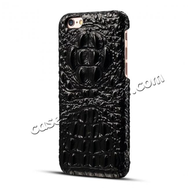 cheap Crocodile Grain Genuine Cowhide Leather Back Cover Case for iPhone 8 4.7 inch - Black