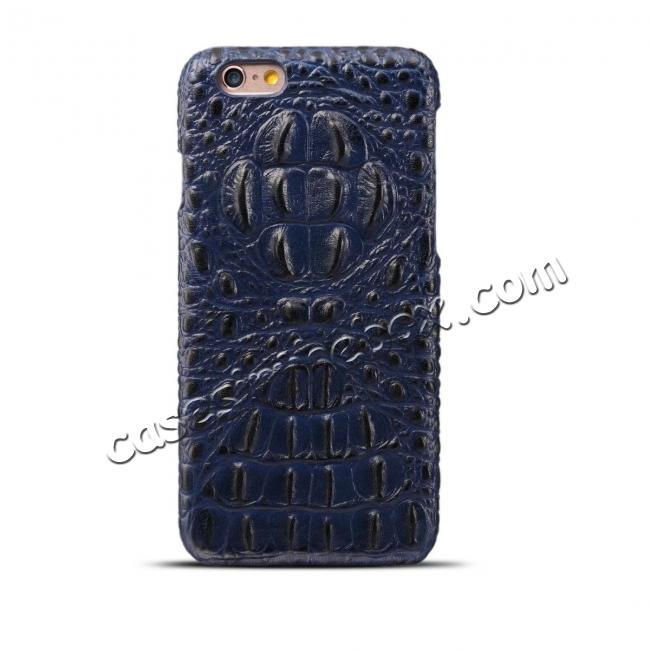 wholesale Crocodile Grain Genuine Cowhide Leather Back Cover Case for iPhone 8 4.7 inch - Blue