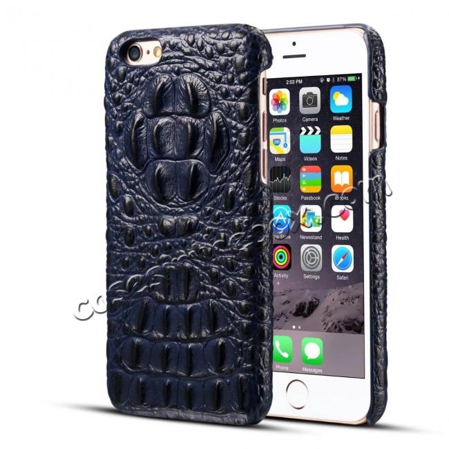 discount Crocodile Grain Genuine Cowhide Leather Back Cover Case for iPhone 8 4.7 inch - Blue