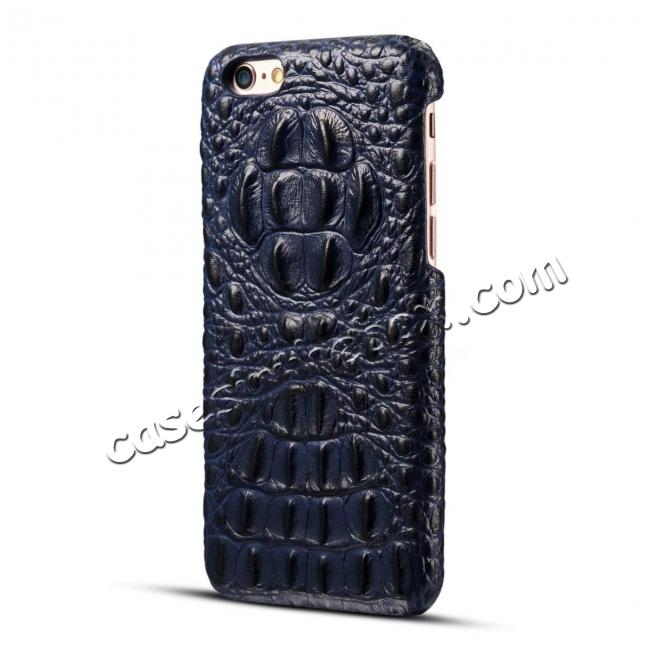 cheap Crocodile Grain Genuine Cowhide Leather Back Cover Case for iPhone 8 4.7 inch - Blue