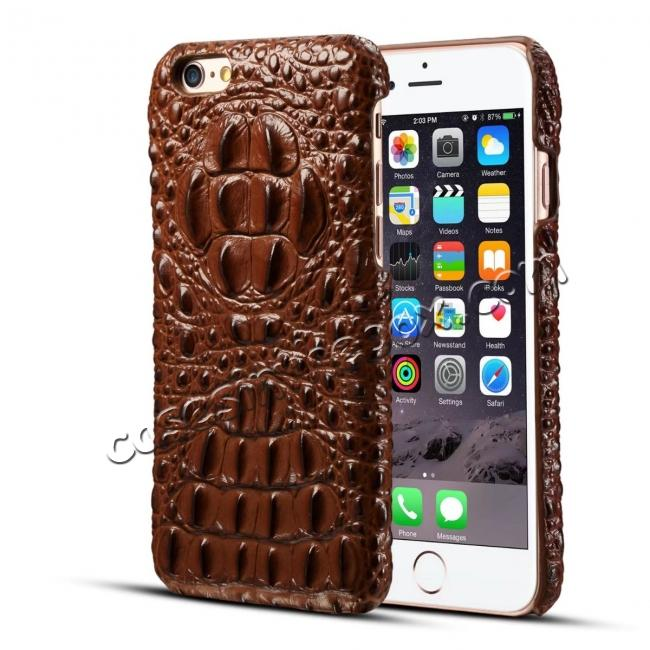 discount Crocodile Grain Genuine Cowhide Leather Back Cover Case for iPhone 8 4.7 inch - Brown