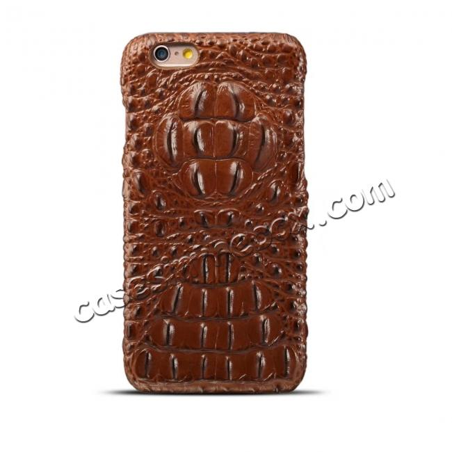 wholesale Crocodile Grain Genuine Cowhide Leather Back Cover Case for iPhone 8 4.7 inch - Brown