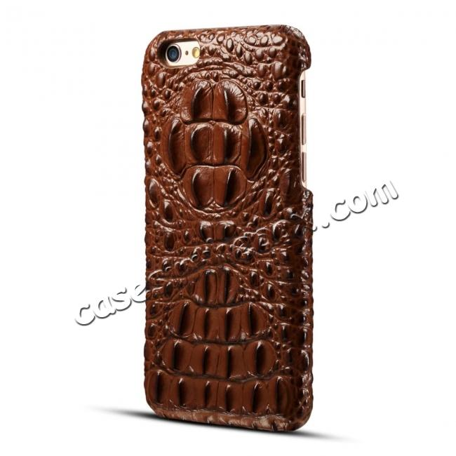 cheap Crocodile Grain Genuine Cowhide Leather Back Cover Case for iPhone 8 4.7 inch - Brown