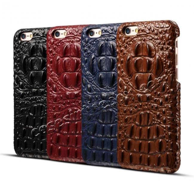 on sale Crocodile Grain Genuine Cowhide Leather Back Cover Case for iPhone 8 4.7 inch - Brown