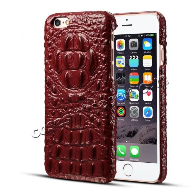 discount Crocodile Grain Genuine Cowhide Leather Back Cover Case for iPhone 8 4.7 inch - Red