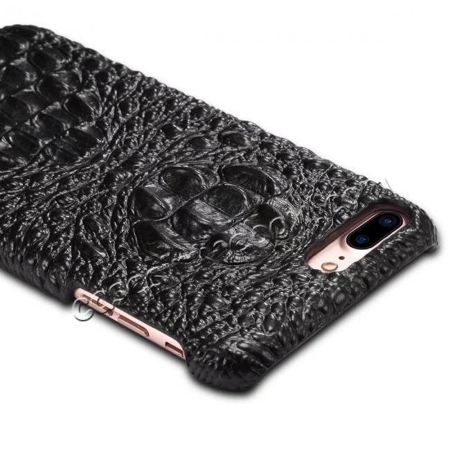 best price Crocodile Head Pattern Genuine Cowhide Leather Back Cover Case for iPhone 8 Plus 5.5 inch - Black