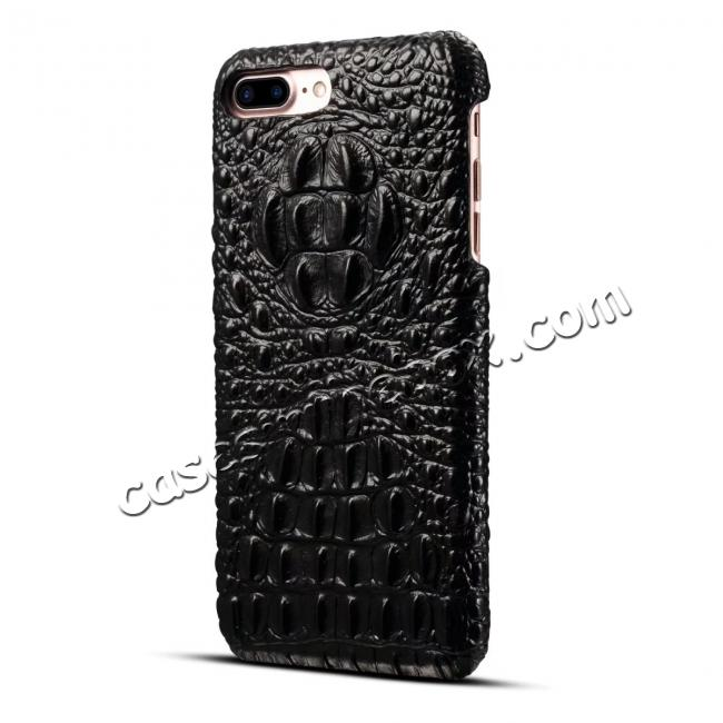 cheap Crocodile Head Pattern Genuine Cowhide Leather Back Cover Case for iPhone 8 Plus 5.5 inch - Black