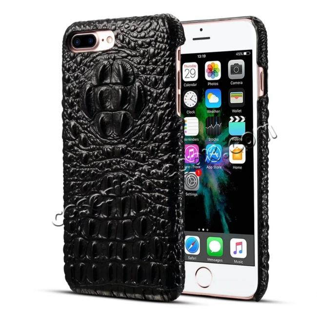 wholesale Crocodile Head Pattern Genuine Cowhide Leather Back Cover Case for iPhone 8 Plus 5.5 inch - Black