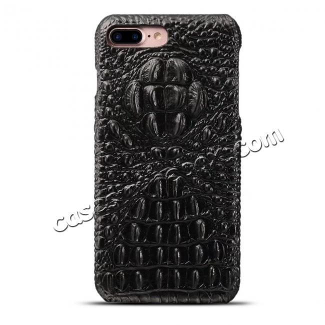 discount Crocodile Head Pattern Genuine Cowhide Leather Back Cover Case for iPhone 8 Plus 5.5 inch - Black