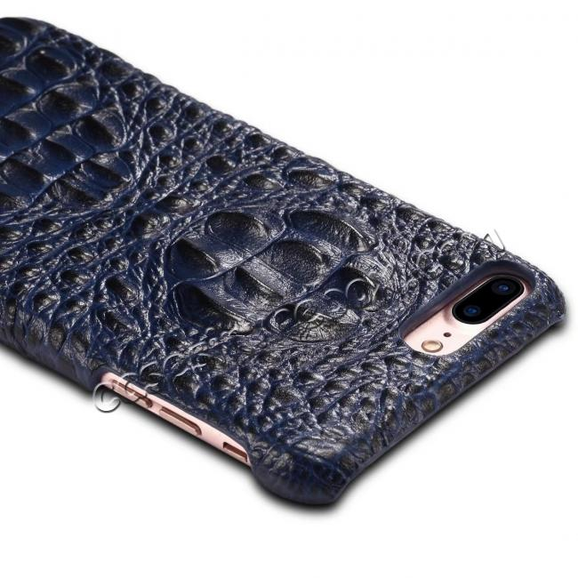 best price Crocodile Head Pattern Genuine Cowhide Leather Back Cover Case for iPhone 8 Plus 5.5 inch - Blue