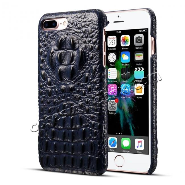 wholesale Crocodile Head Pattern Genuine Cowhide Leather Back Cover Case for iPhone 8 Plus 5.5 inch - Blue