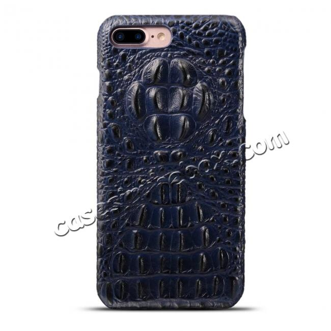 discount Crocodile Head Pattern Genuine Cowhide Leather Back Cover Case for iPhone 8 Plus 5.5 inch - Blue