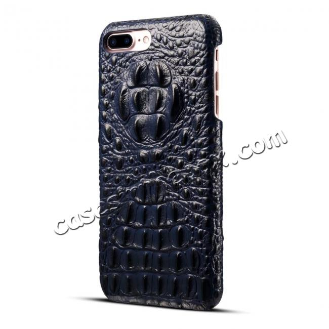 cheap Crocodile Head Pattern Genuine Cowhide Leather Back Cover Case for iPhone 8 Plus 5.5 inch - Blue