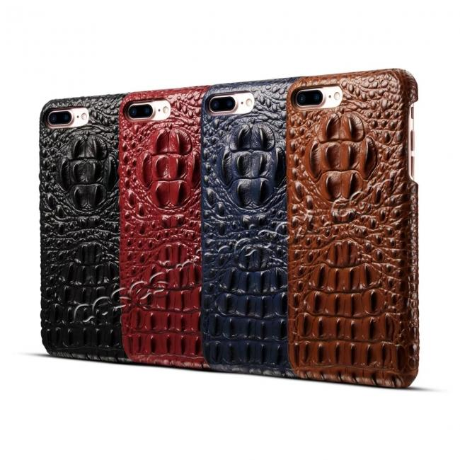 on sale Crocodile Head Pattern Genuine Cowhide Leather Back Cover Case for iPhone 8 Plus 5.5 inch - Brown