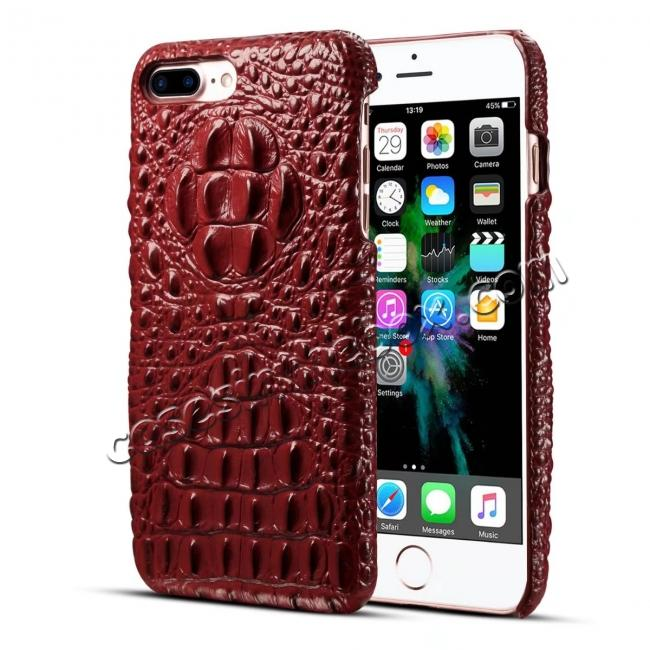 wholesale Crocodile Head Pattern Genuine Cowhide Leather Back Cover Case for iPhone 8 Plus 5.5 inch - Red