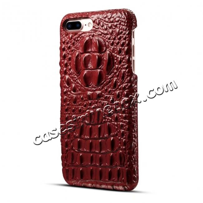 cheap Crocodile Head Pattern Genuine Cowhide Leather Back Cover Case for iPhone 8 Plus 5.5 inch - Red
