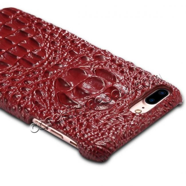 best price Crocodile Head Pattern Genuine Cowhide Leather Back Cover Case for iPhone 8 Plus 5.5 inch - Red