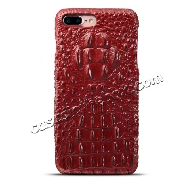 discount Crocodile Head Pattern Genuine Cowhide Leather Back Cover Case for iPhone 8 Plus 5.5 inch - Red
