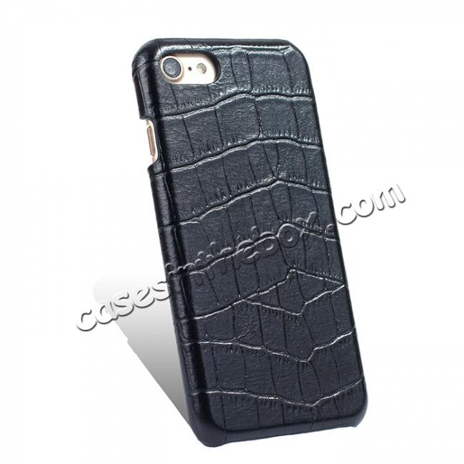 cheap Crocodile Pattern Genuine Real Leather Back Case Cover for iPhone 8 4.7inch - Black
