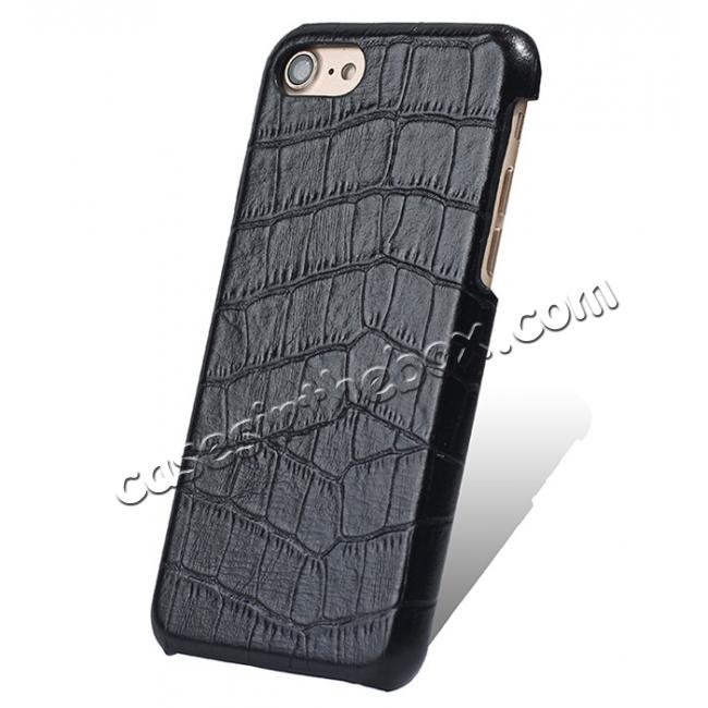 wholesale Crocodile Pattern Genuine Real Leather Back Case Cover for iPhone 8 4.7inch - Black