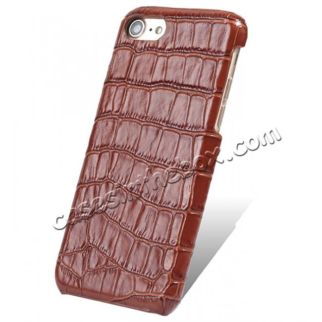 wholesale Crocodile Pattern Genuine Real Leather Back Case Cover for iPhone 8 4.7inch - Brown