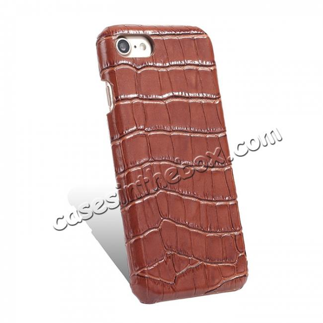 top quality Crocodile Pattern Genuine Real Leather Back Case Cover for iPhone 8 4.7inch - Brown