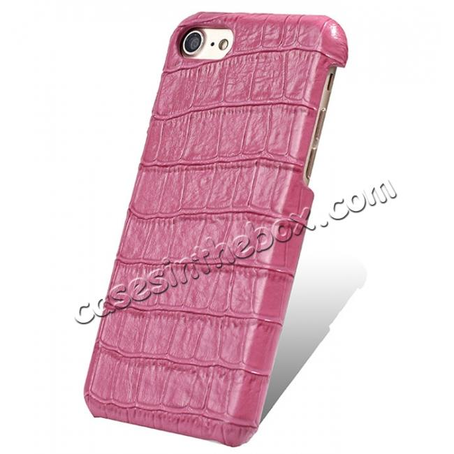 wholesale Crocodile Pattern Genuine Real Leather Back Case Cover for iPhone 8 4.7inch - Hot Pink