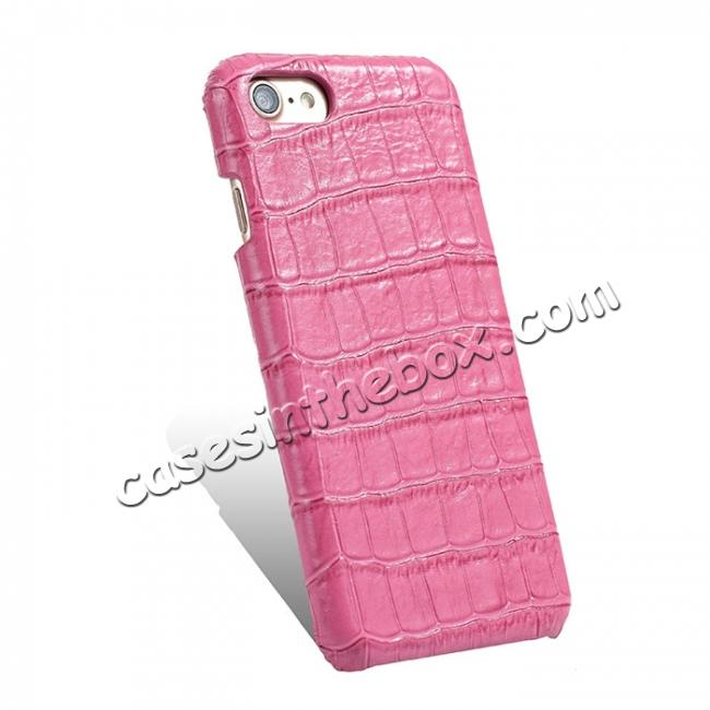 cheap Crocodile Pattern Genuine Real Leather Back Case Cover for iPhone 8 4.7inch - Hot Pink