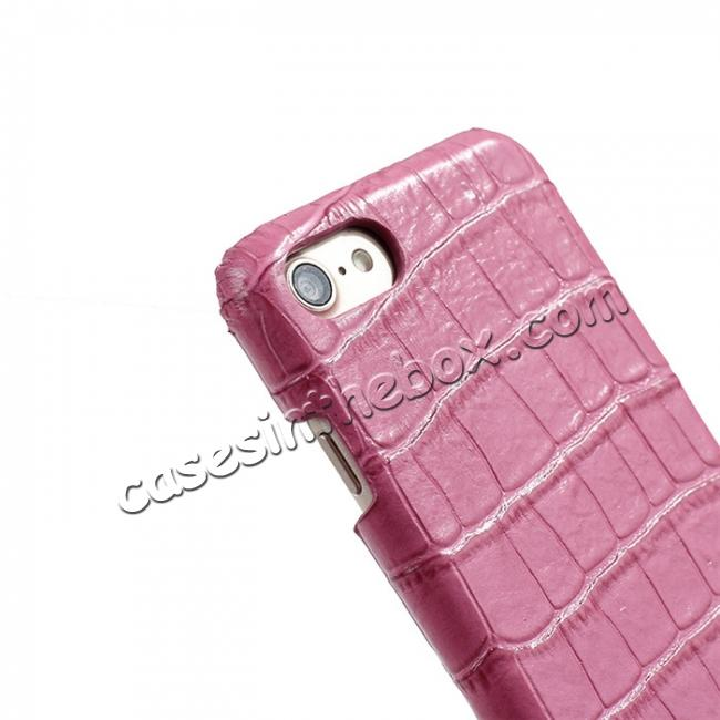 top quality Crocodile Pattern Genuine Real Leather Back Case Cover for iPhone 8 4.7inch - Hot Pink